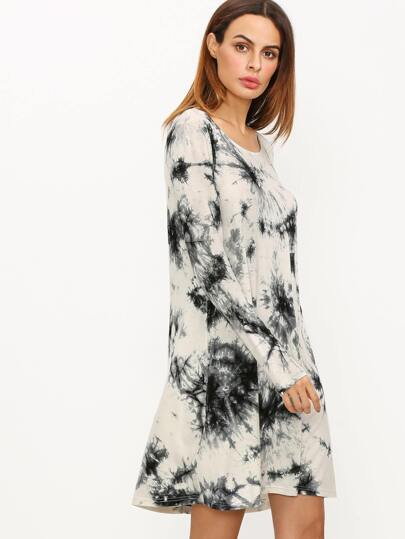 Black And White Ink Print Tie-dye Long Sleeve Dress
