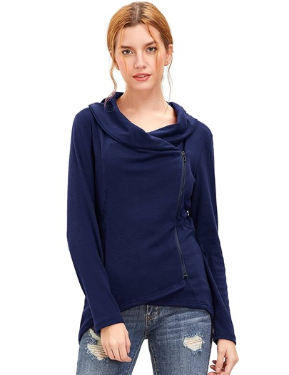 Navy Cowl Neck Asymmetric Zip Coat