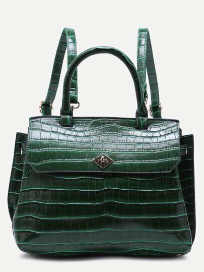 Green Croc Embossed PU Flap Backpack With Handle