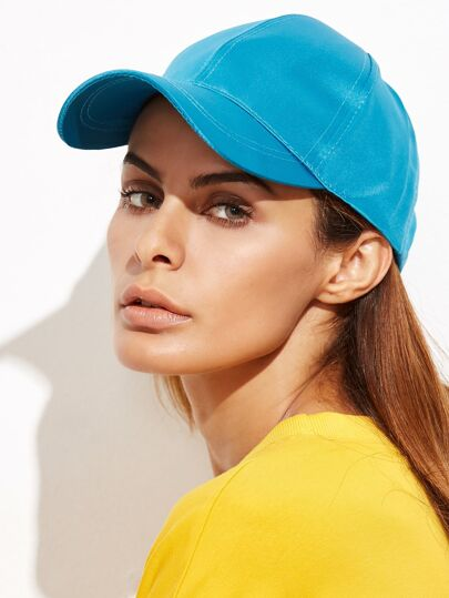 Lake Blue Satin Baseball Cap