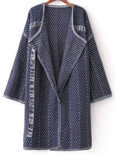 Blue Draped Collar Long Sweater Coat