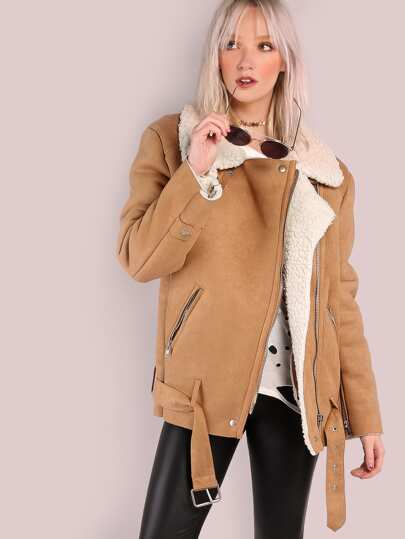 Oversized Faux Sheepskin Shearling Jacket TAN