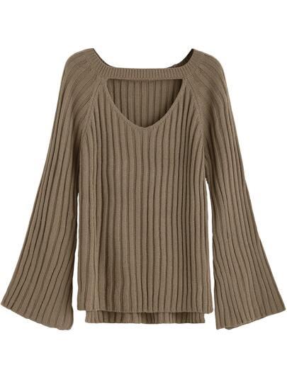 Khaki Cutout Front High Low Sweater