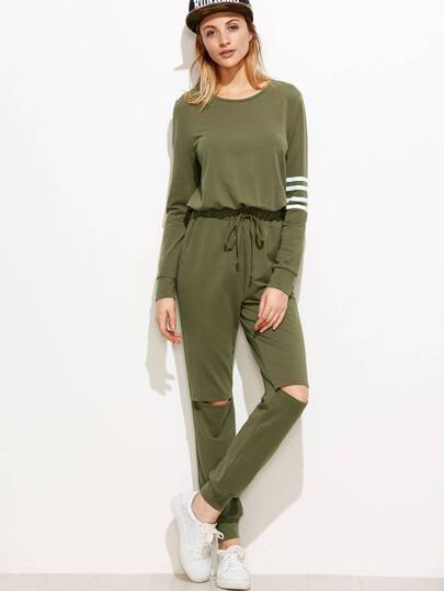 Army Green Striped Sleeve Drawstring Waist Knee Ripped Sweat Jumpsuit