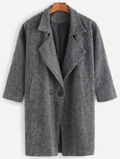 Abrigo de rayas con hombro caído y bolsillos - negro