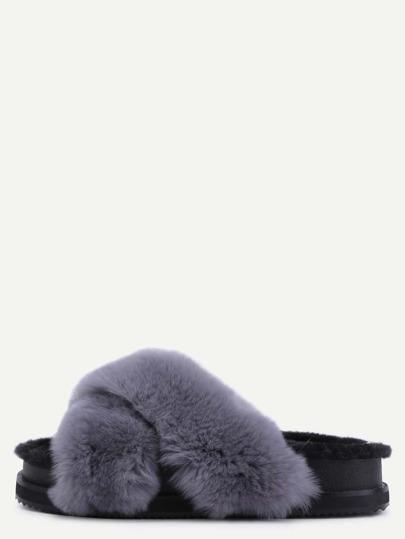 Grey Rabbit Hair Fur Lined Flatform Slippers