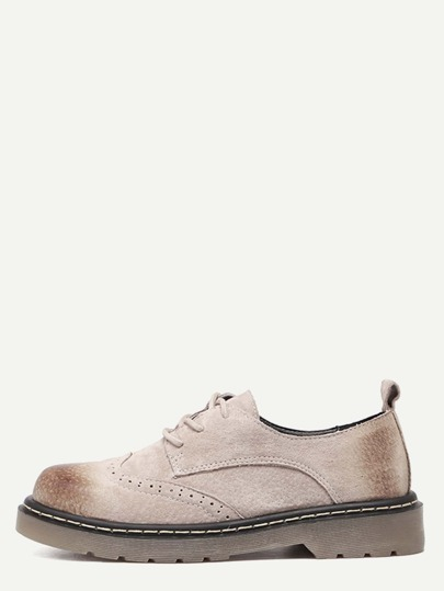 Light Brown Distressed Rubber Sole Oxford Shoes