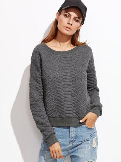 Heather Grey Drop Shoulder Quilted Sweatshirt