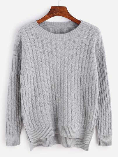 Grey Slit Side High Low Cable Knit Sweater