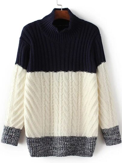 Navy Color Block Mock Neck Sweater