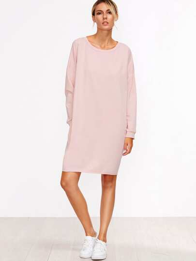 Pink Drop Shoulder Seam Sweatshirt Dress