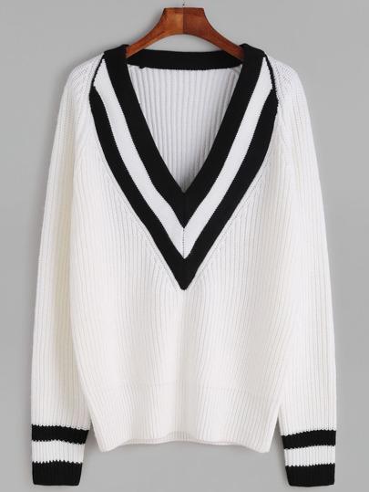 Pullover gestreifte V-Ausschnitt und Manschette-weiß
