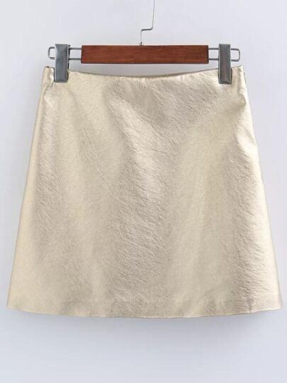Falda de PU - dorado