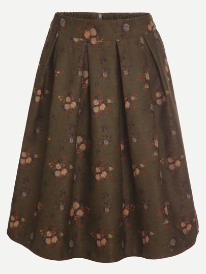 Army Green Floral Print Pleated Skirt