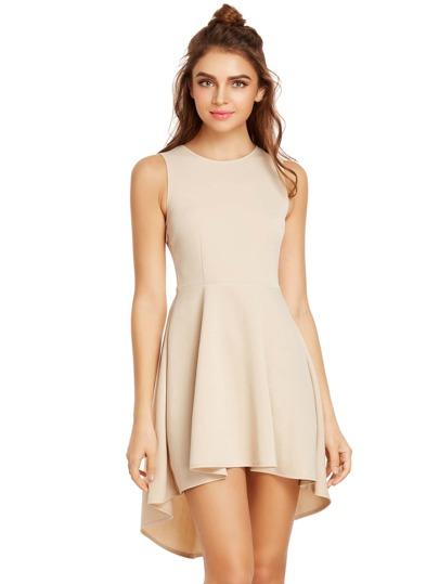 Sleeveless Dip Hem Flare Dress
