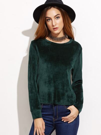 Dark Green Round Neck Velvet Blouse