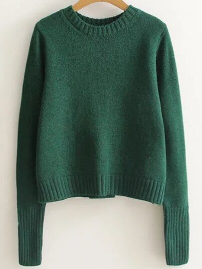 Green Ribbed Trim Lace Up Back Sweater