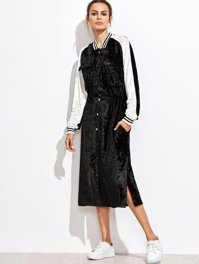 Black Contrast Panel Button Up Velvet Bomber Dress