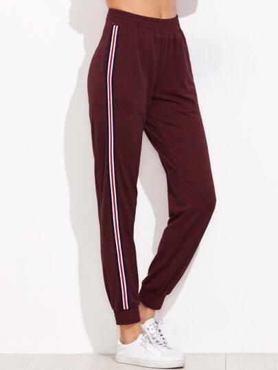 Pantalones de chándal con cintura elástica - burdeos