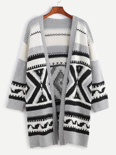 Grey Geo Pattern Open Front Long Sweater Coat