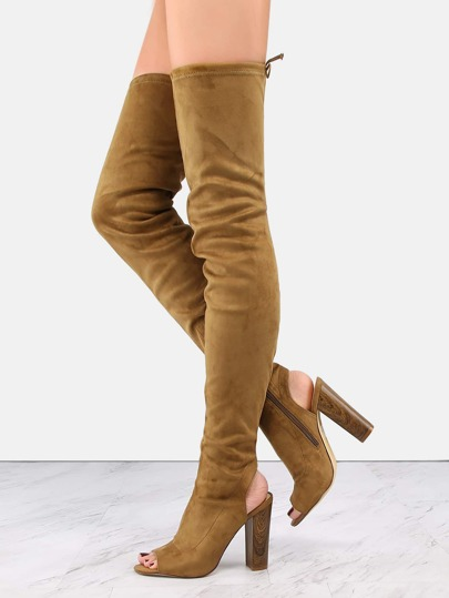 Faux Suede Chunky Heel Boots OLIVE