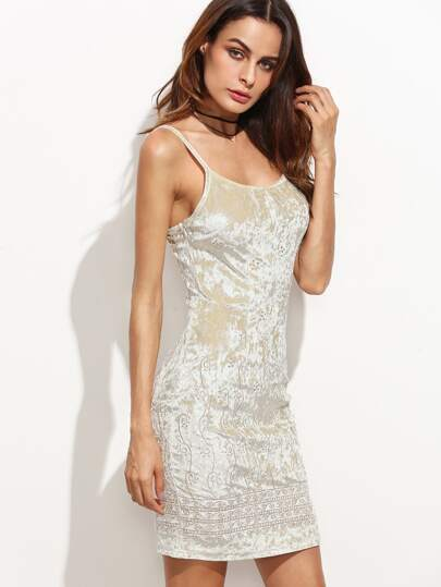 Beige Embroidered Velvet Cami Dress