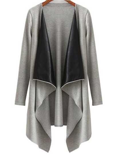 Grey Draped Neck Open Front Asymmetrical Coat