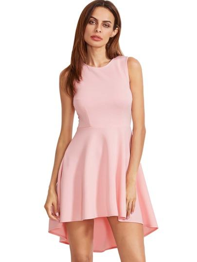 Rosa ärmelloses asymmetrisches Hem Flare Kleid