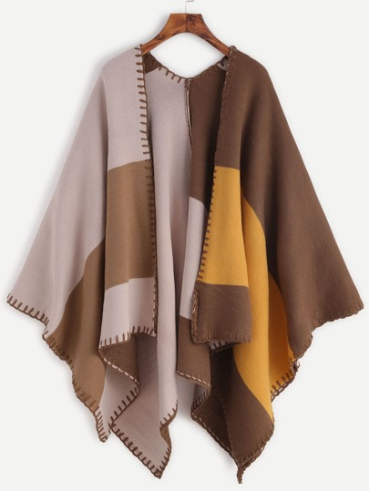 Cardigan poncho color-block