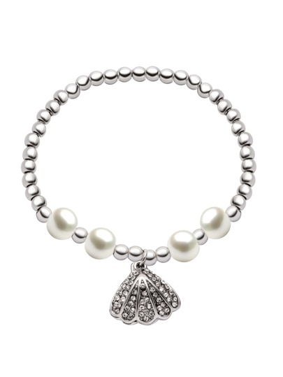Silver Plated Faux Pearl Shell Beaded Bracelet