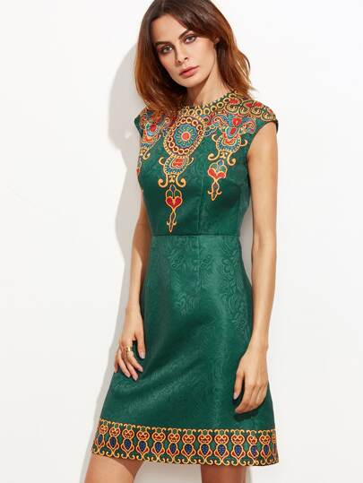Green Vintage Print Cap Sleeve Jacquard Dress