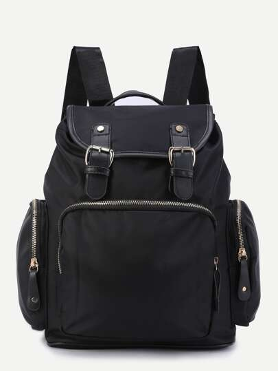 Black Three Pockets Buckle Strap Flap Nylon Backpack