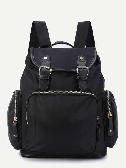 Black Three Pockets Buckle Strap Flap Nylon Backpack