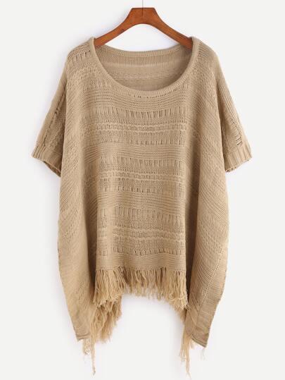 Khaki Fringe Hem Cape Sweater