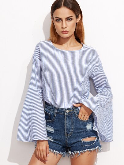 Blue Vertical Striped Bell Sleeve Top