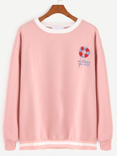 Contrast Ribbed Trim Letter Embroidered Sweatshirt