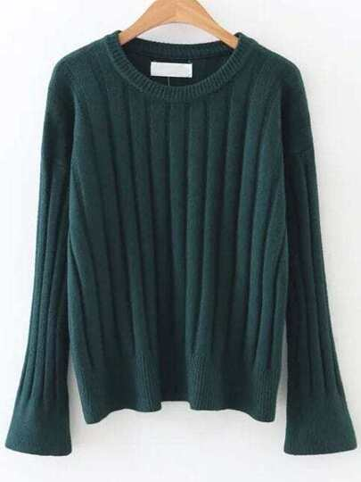 Dark Green Ribbed Bell Sleeve Sweater