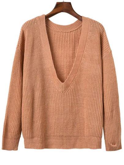 Khaki Ribbed V Neck Drop Shoulder Sweater