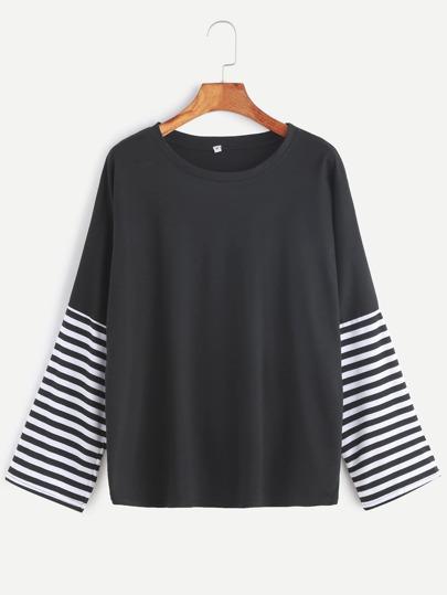 T-shirt Drop Schulter gestreifte Ärmel -schwarz