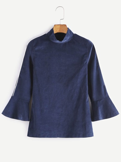 Navy High Neck Contrast Piping Bell Cuff Top