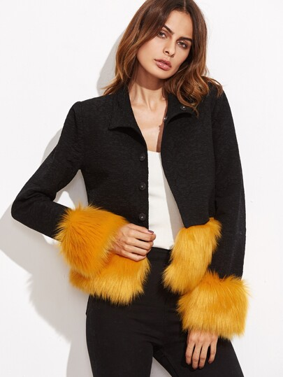 Black Contrast Faux Fur Trim Button Up Jacket