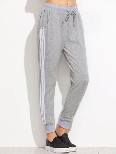 Grey Striped Side Drawstring Pants