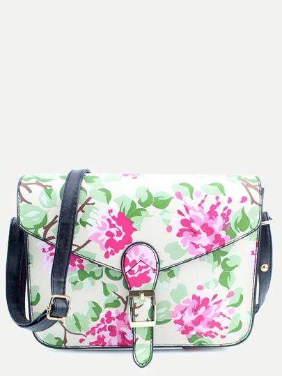 Beige PU Floral Print Buckle Closure Messenger Bag