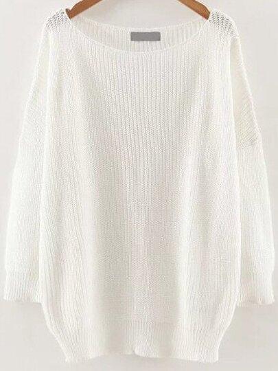 White Round Neck Drop Shoulder Knitwear
