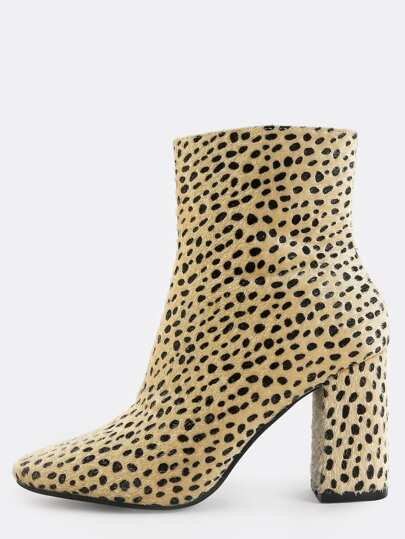 Leopard Square Toe Booties MULTI
