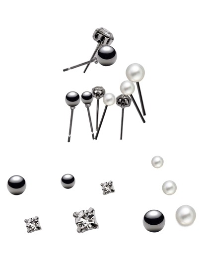 Silver Plated Rhinestone Faux Pearl Stud Earrings Set