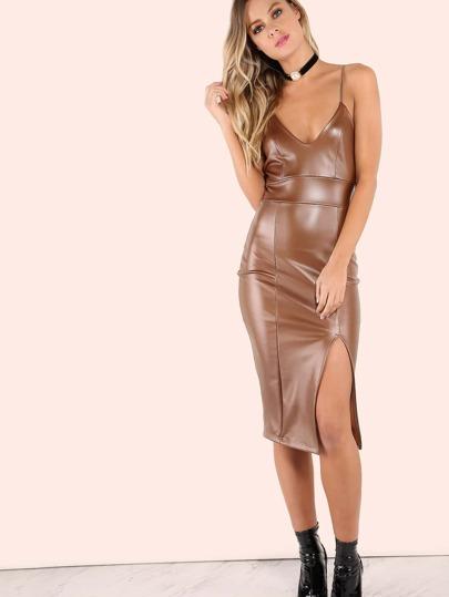 Faux Leather Matte V Slit Dress BROWN