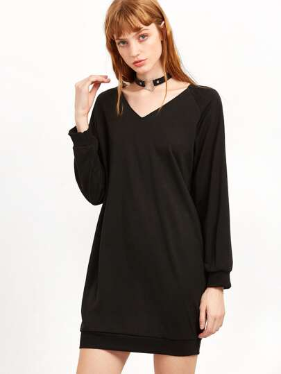 Robe sweat-shirt col V - noir