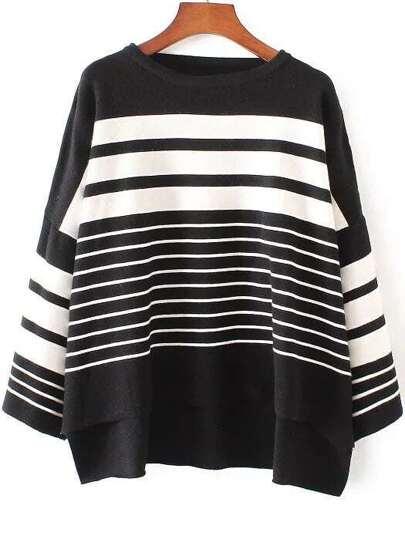 Black Striped Drop Shoulder Dip Hem Knitwear