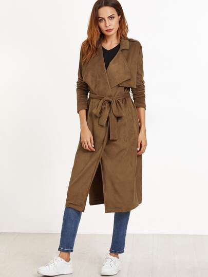 Brown Faux Suede Overlap Back Wrap Coat